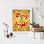 merry and bright christmas wall art