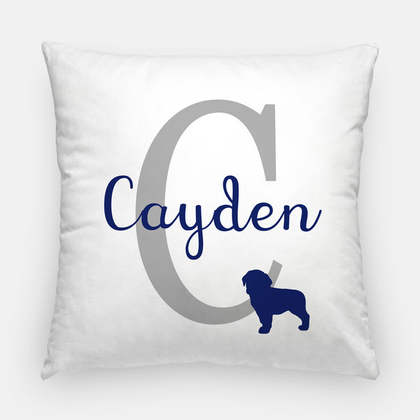 puppy monogram pillow