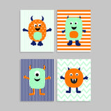 set of four monster nursery prints