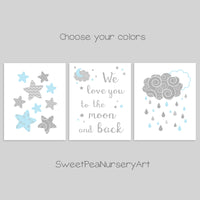 blue and gray moon and stars nursery decor
