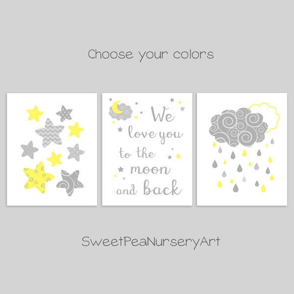 grey and yellow moon and stars nursery decor