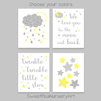 four nursery prints with moon and stars, Twinkle Twinkle Little Star, We Love You To The Moon And Back, and clouds with raindrops prints