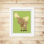 moose nursery art print in frame
