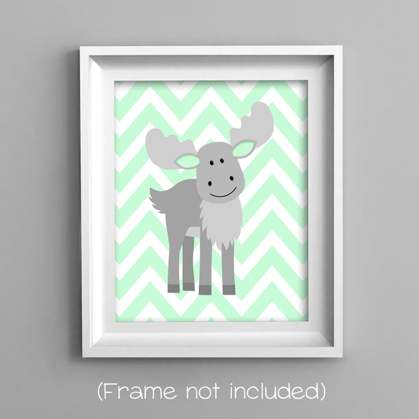 moose on chevron nursery art print in mint and gray
