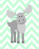 grey moose nursery art print on mint chevron