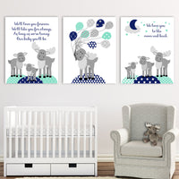 Set of three moose nursery canvas prints