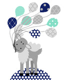Moose with balloons nursery art print