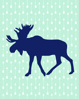 mint and navy tribal moose print