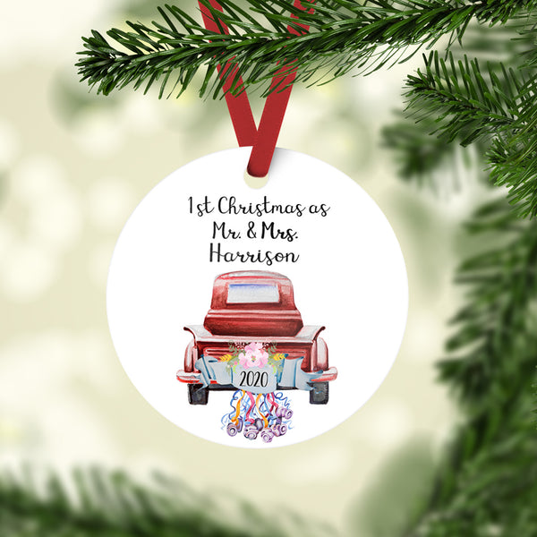 Wedding Christmas Ornament | Rustic Truck Ornament | Farmhouse | Choose Truck Color