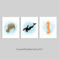 set of three sea creature watercolor prints including a manatee, orca and seahorse