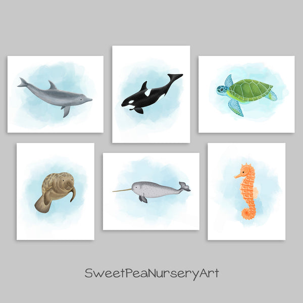 set of watercolor sea creature prints