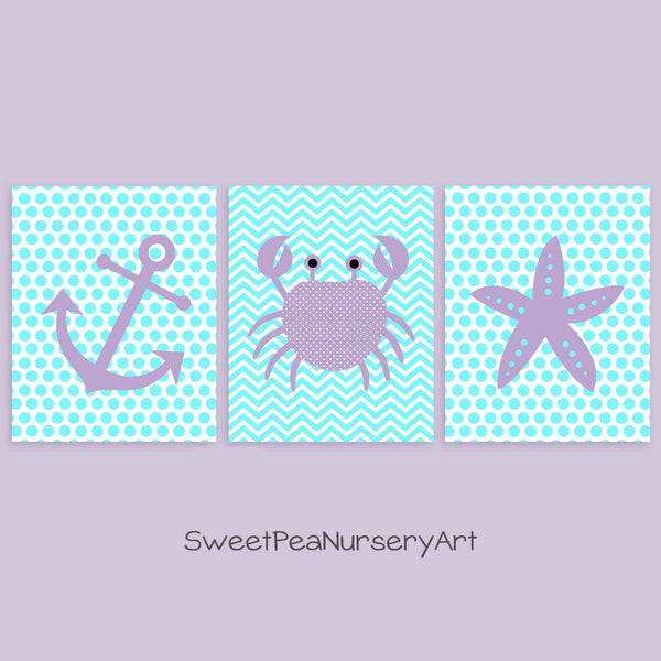 aqua and purple nautical nursery decor