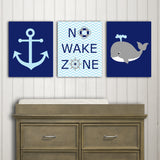 Baby blue and navy nautical canvas prints