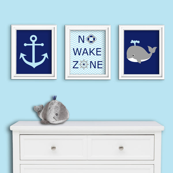 Set of three nautical nursery prints with an anchor, whale and No Wake Zone print