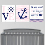 Set of three baby pink and navy nautical nursery prints