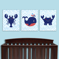 nautical set of 3 sea creature canvas wall decor