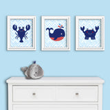 Set of three sea creature nursery art prints