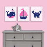 Set of three fuchsia and navy nautical nursery prints