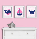 Navy and fuchsia nautical girl nursery canvas