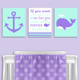 mint and purple nautical canvas prints