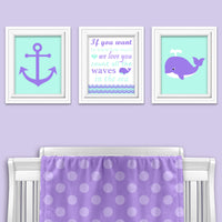 Set of three mint and purple wall art