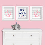 navy and pink nursery decor