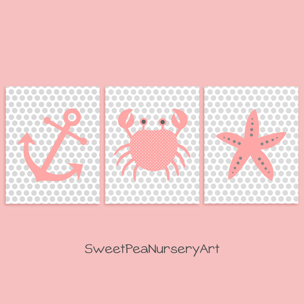 coral pink nautical nursery art
