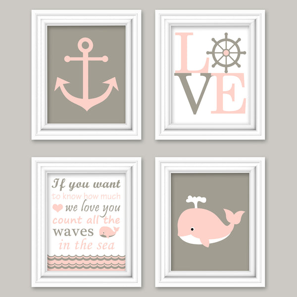 Beige and salmon nautical nursery pictures