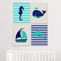 Teal and navy nautical nursery pictures