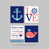 coral and navy nautical nursery
