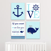 blue and navy nautical nursery canvas prints
