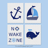 set of 4 nautical nursery prints in blue, navy and gray