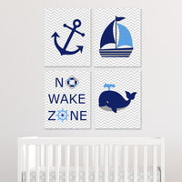 set of four blue, navy and gray nautical prints