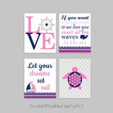 pink and navy nautical nursery prints