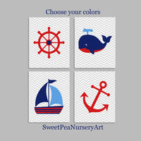 red white and blue nautical nursery decor