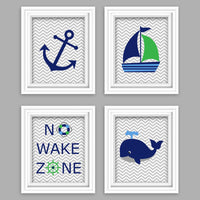 green, blue and navy nautical nursery pictures