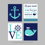 teal and navy nautical nursery decor