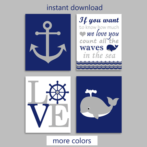 Printable Nautical Nursery Decor | Instant Download | Digital Files | DIY Nursery Art | Set of 4
