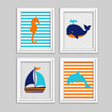 set of four nautical pictures for a nursery