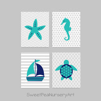 nautical nursery decor in navy and teal