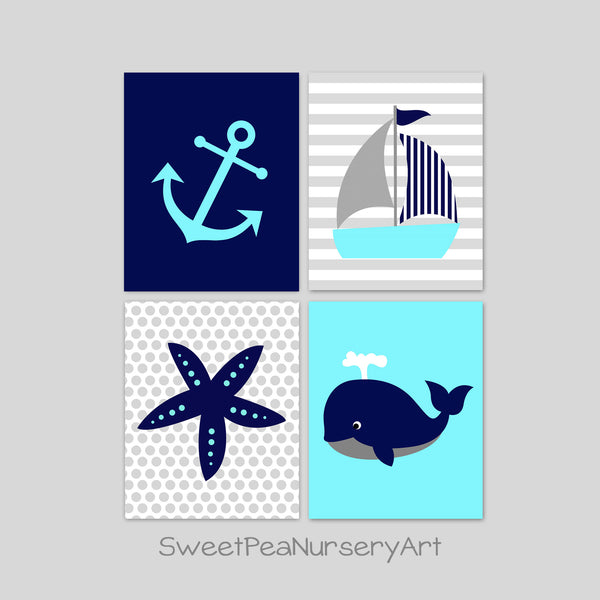 aqua and navy nautical nursery decor