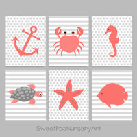 coral and gray nautical nursery prints