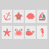 set of 8 nautical nursery prints