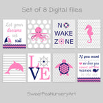 Printable Nautical Nursery Art | Set of 8 Digital Files | Pink and Navy | Instant Download