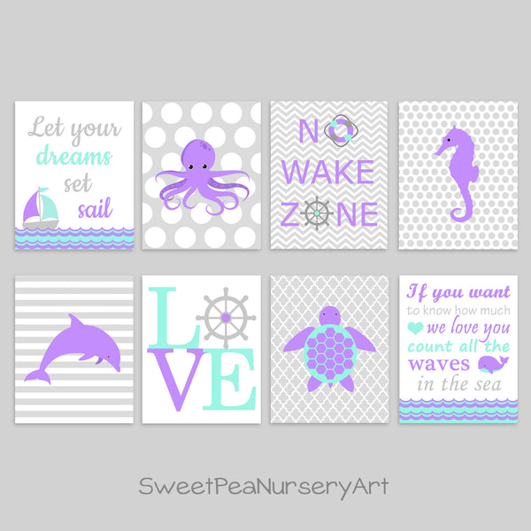 aqua and purple nautical nursery prints