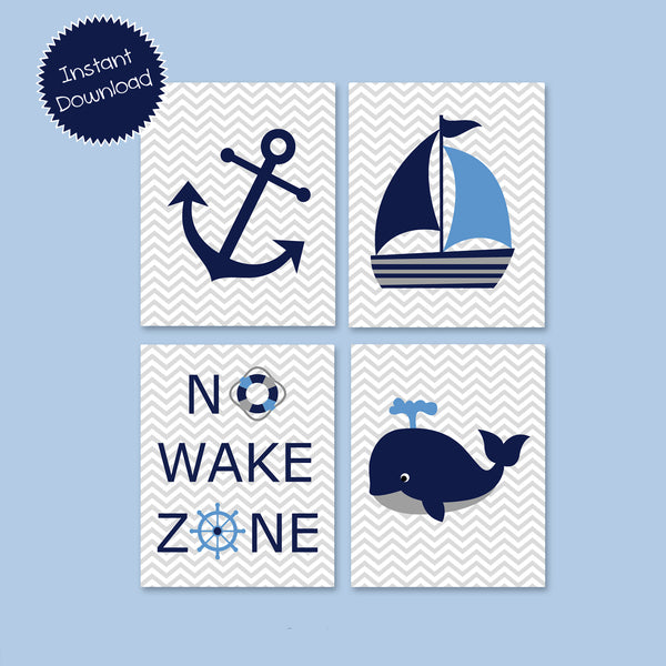 Printable Nautical Nursery Art | Instant Download | Blue Grey Navy | Whale Anchor Sailboat