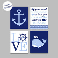 Printable Nautical Nursery Decor | Instant Download | Blue Navy | DIY Nursery Art | Set of 4
