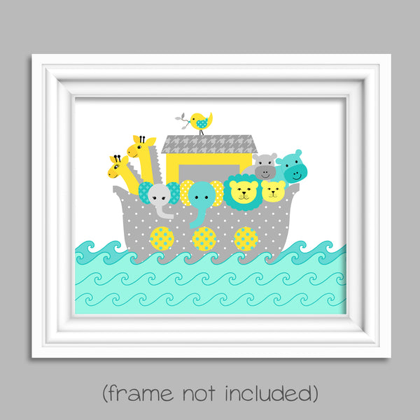 Noah's Ark nursery print gray, teal, yellow