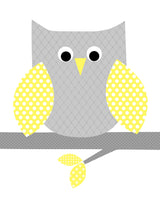 Nursery print of a gray and yellow owl on a branch.