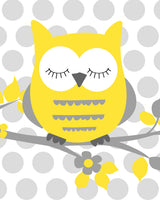yellow and grey owl print